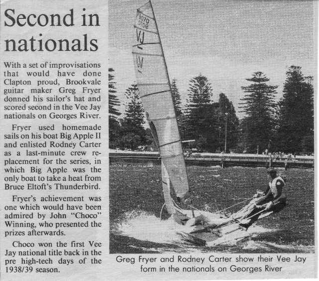 Article from the Manly Daily newspaper reporting on local Greg Fryer's 2nd place in the VJ Senior division