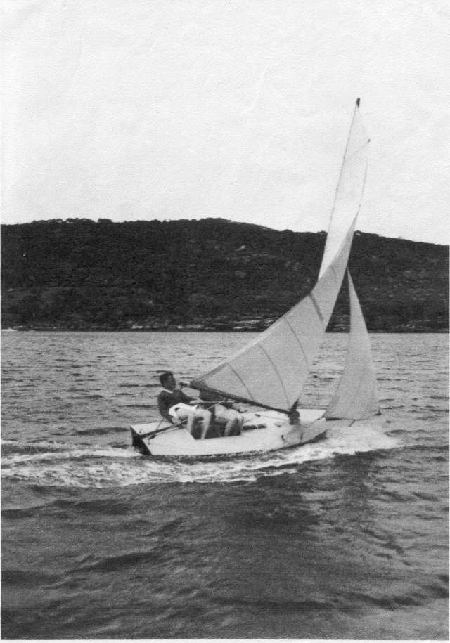 Howard Ash sailing a VJ on Sydney's Middle Harbour 1934