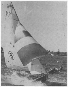 The famous 'Big Mac II' from 1968 flies across Georges River at top speed proudly using Herrick sails
