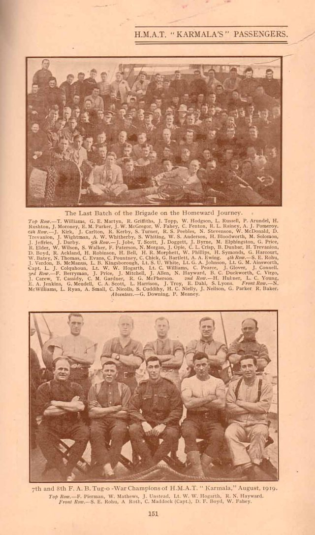 Sil Rohu appears in both the upper and lower photos, from the 'Yandoo 'journal. In the lower photo Sil is on the far left hand side as part of the winning tug of war team on board HMAT Karmala 1919