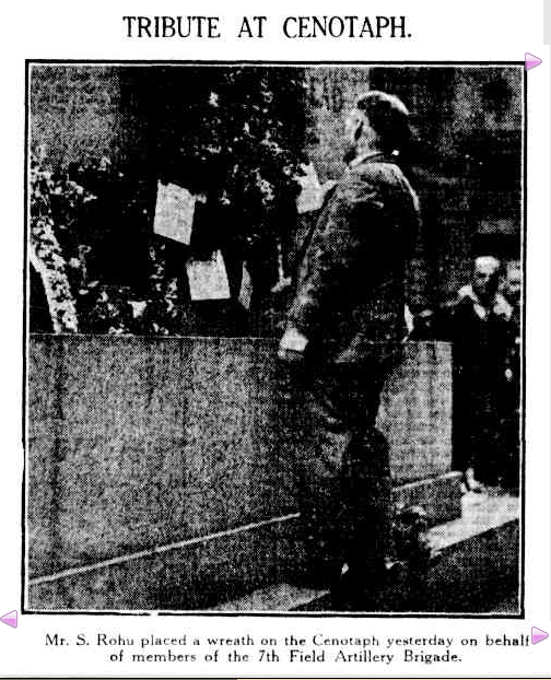Sil Rohu places a wreath on the Cenotaph for the 7th Field Artillery brigade 12th May 1930