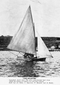 'Splinter' VJ number 1 built in the Vaucluse 12ft Amateur Sailing Clubhouse in 1931